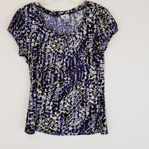 Worthington Stretch T Shirt Blouse Purple Black